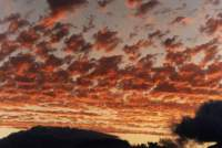 sunset on altocumulus over Constantiaberg