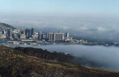 fog circling the City Centre, Foreshore and Harbour