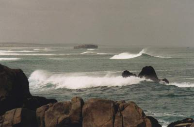 wreck and waves off West Coast